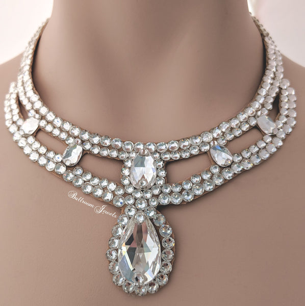 Pear Drop Swarovski Ballroom Necklace clear