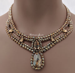 Swarovski Gold Pear Drop Ballroom Necklace