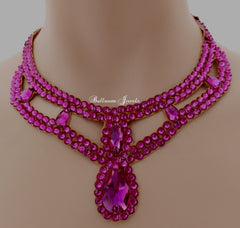 Sponsor Swarovski Fuchsia Pear Drop Ballroom Necklace