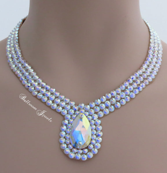 Ballroom Necklace Swarovski Crystal Bold Single pear