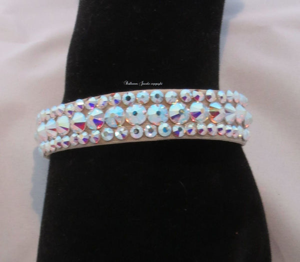 "Swarovski 2 stone Crystal Ballroom Bangle Bracelet 1/2"" wide"