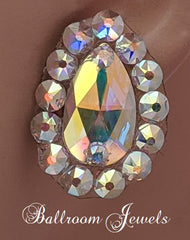 Swarovski pear crystal ballroom earrings - aurora borealis