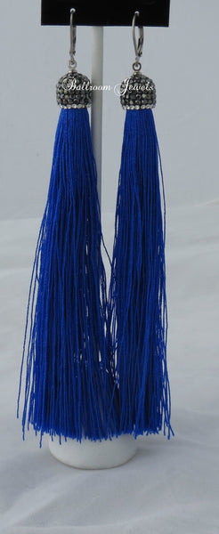 Tassel drop earrings in blue