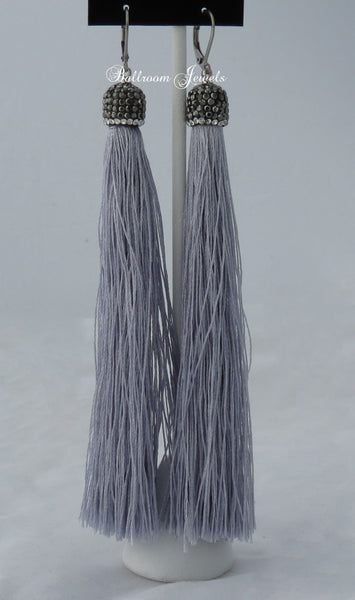 Tassel drop earrings in grey