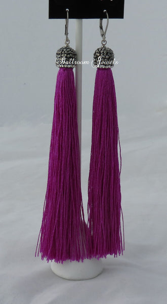 Tassel drop earrings in purple