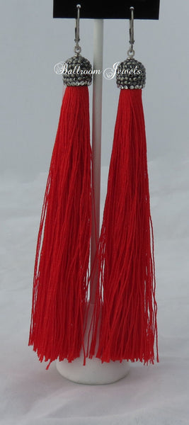 Tassel drop earrings in red