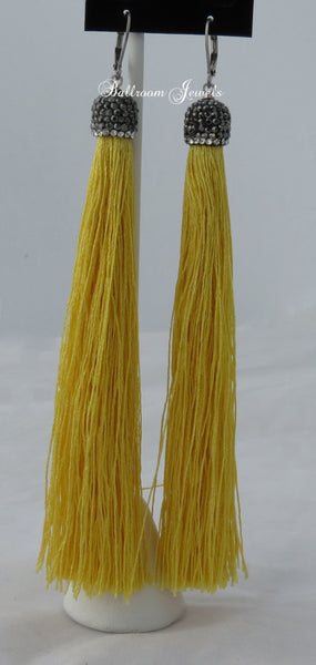 Tassel drop earrings in yellow