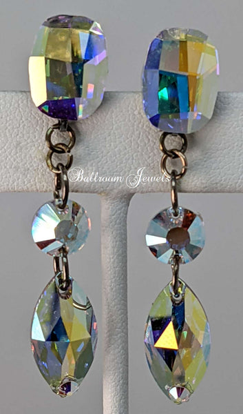 Ballroom Swarovski three crystal dangle earrings