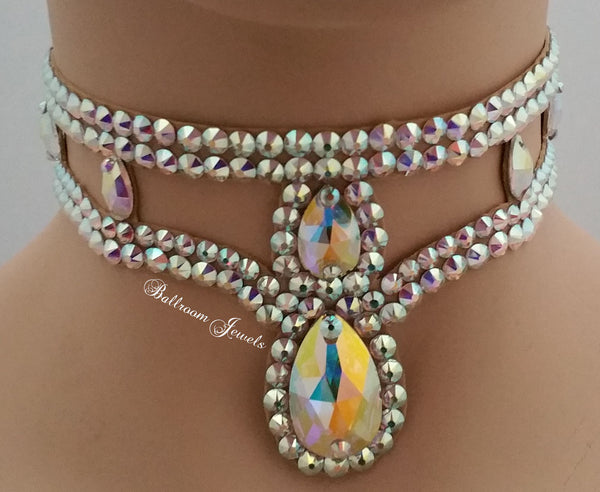 Two Drop Pear Choker Swarovski Ballroom Necklace