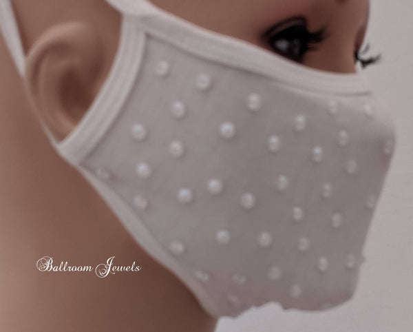 White with white crystals face covering