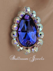 Swarovski pear crystal ballroom earrings - purple