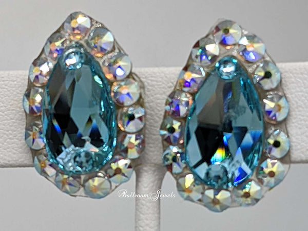 Swarovski pear crystal ballroom earrings - light turquoise blue