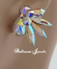 Crystal Ballroom Earrings Pear Small Spray - Earrings - Ballroom Jewels