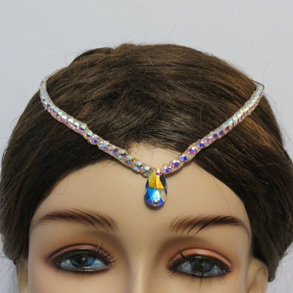 Swarovski hair line with larger pear stone
