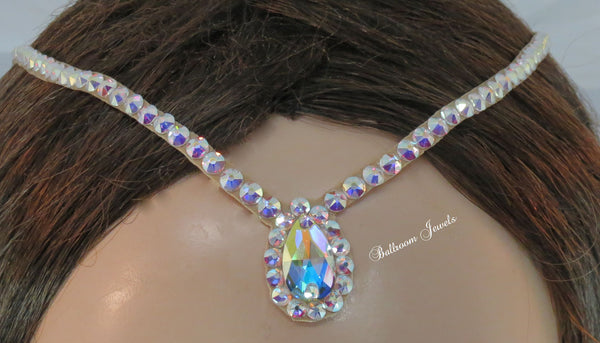 Swarovski Hair line with larger pear surrounded by crystals