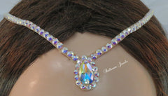 Swarovski Hair line with larger pear surrounded by crystals - Hair Accessories - Ballroom Jewels
