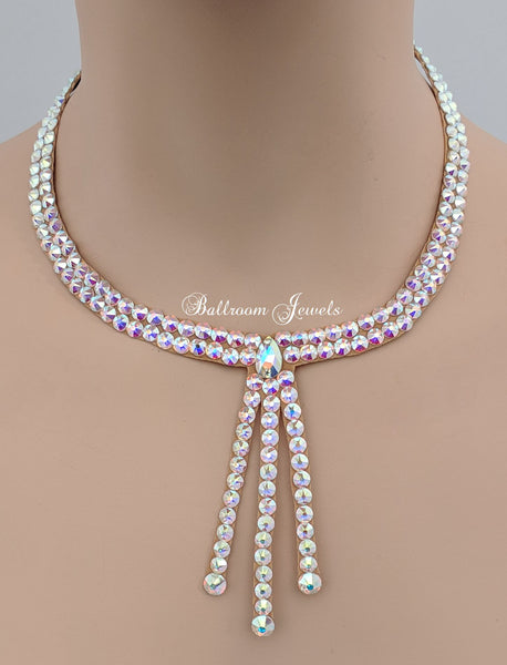 Ballroom necklace Swarovski Crystal Three Drop