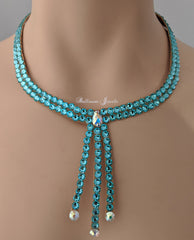 Ballroom necklace Swarovski Crystal Three Drop - Turquoise