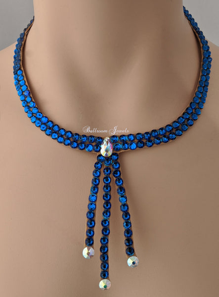 Ballroom necklace Swarovski Crystal Three Drop - Meridian Blue