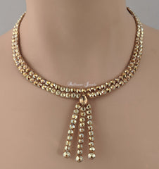 Ballroom necklace Swarovski Crystal Three Drop - Gold