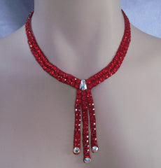 Swarovski Ballroom Necklace Three Drop in choice of color - Swarovski Necklace - Ballroom Jewels - 1
