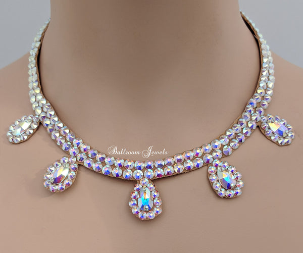 Ballroom necklace Swarovski Crystal Multi Pear