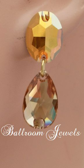 Ballroom Swarovski Crystal Oval and Pear drop earrings - gold