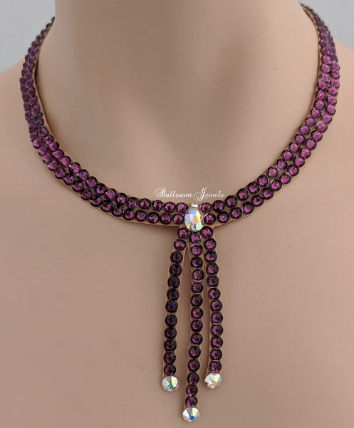 Ballroom necklace Swarovski Crystal Three Drop - Amethyst purple