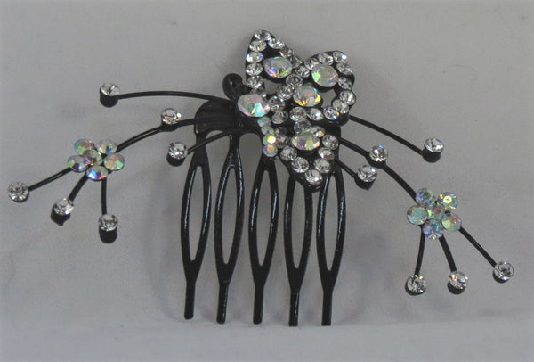 Butterfly and spray crystal hair comb