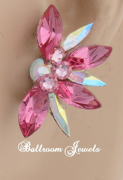 Swarovski Crystal Half Star Ballroom Earrings in Pink