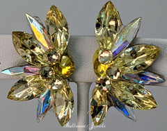 Swarovski Crystal Half Star Ballroom Earrings in Yellow