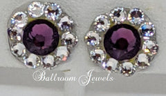 Swarovski Crystal Ballroom amethyst round earrings