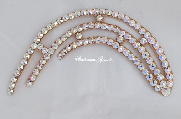 Half Circle Swarovski Ballroom Hair Ornament - left spray