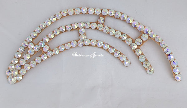 Half Circle Swarovski Ballroom Hair Ornament - right spray