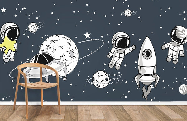 Astronauts and Aliens Wallpaper Mural