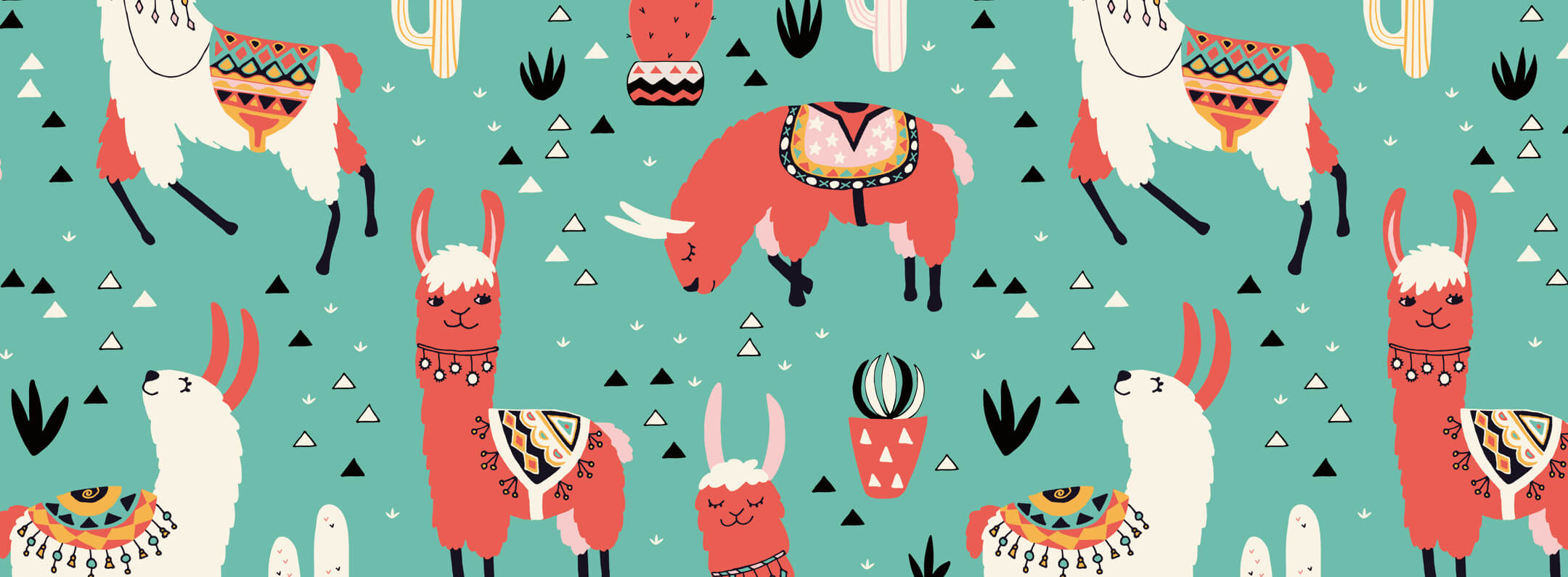 Colorful Green Background sheep and cactus wallpaper mural