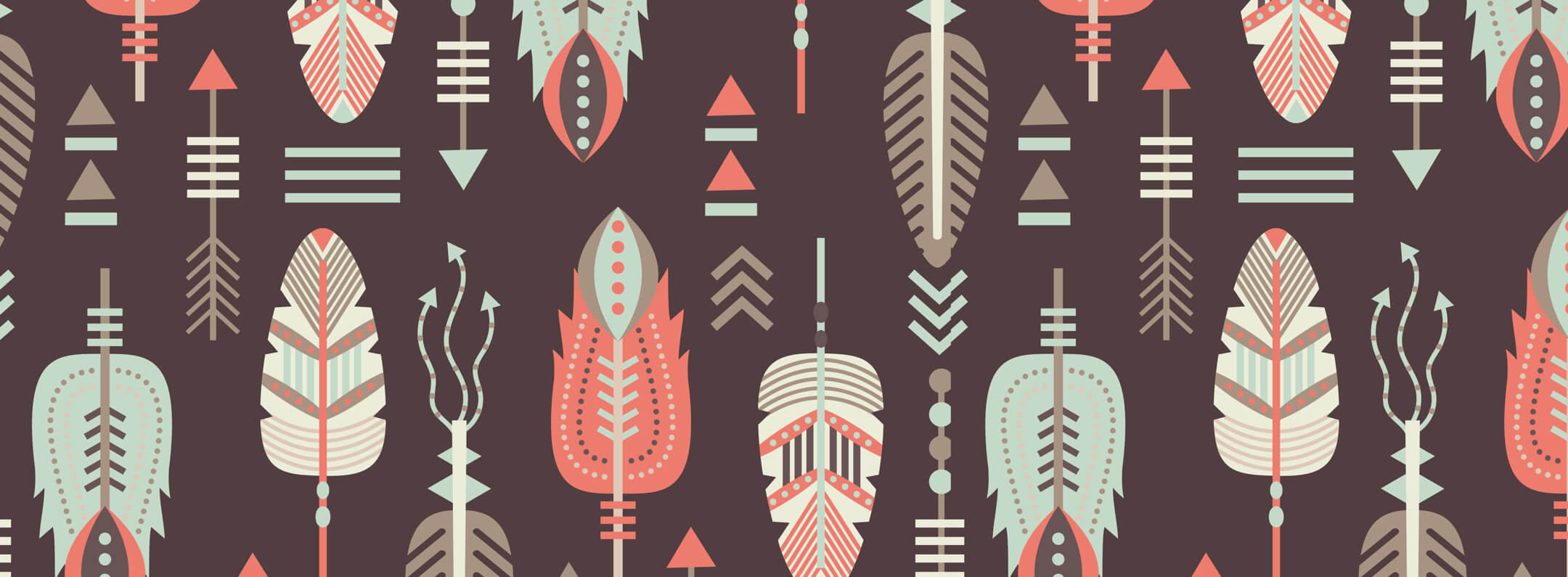 Native American feather seamless pattern wallpaper mural