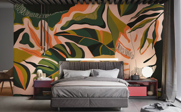 Abstract Leaves Wallpaper Mural