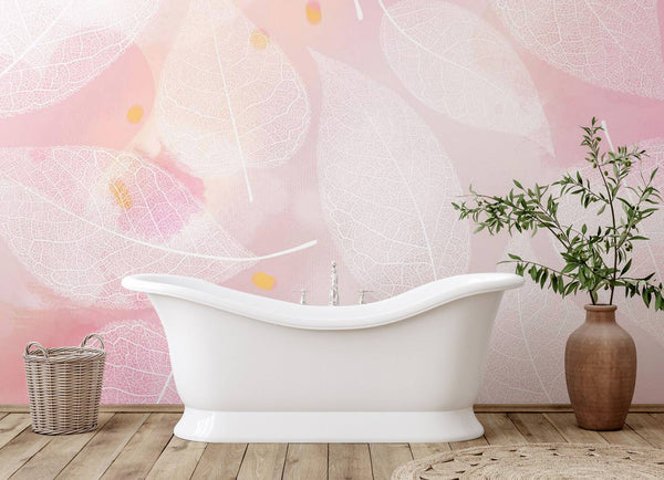 Pink Leaves Wallpaper Mural for Wall