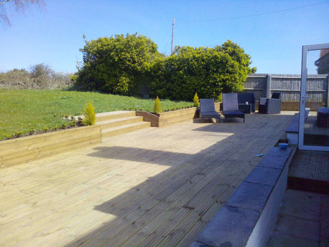 WADE BUILDING SUPPLIES   GARDEN RAILWAY SLEEPERS AND GARDEN DECKING BOARDS USED AS RETAINING WALL AND GARDEN DECK