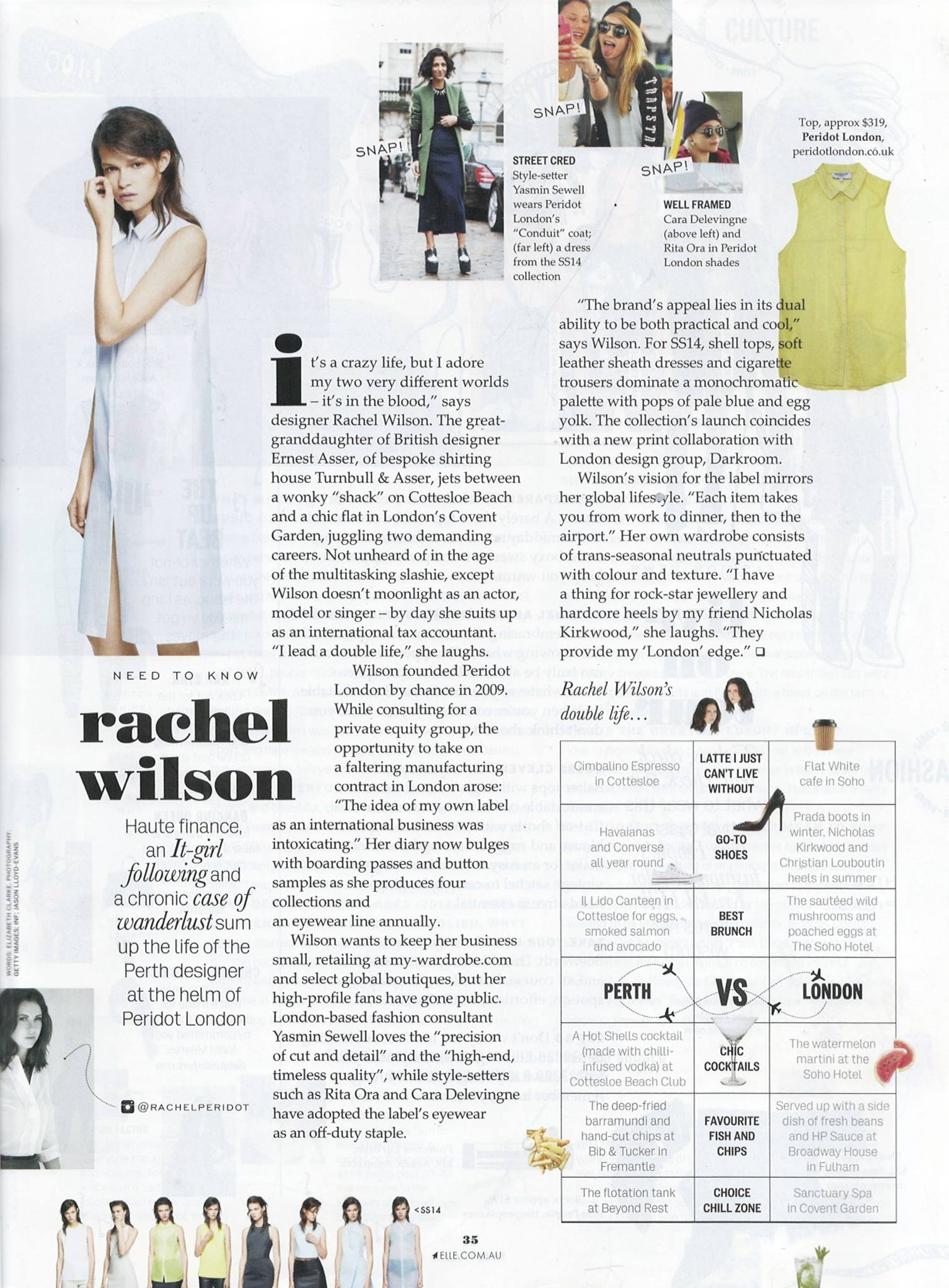 Peridot feature in teh January 2014 issue of Elle Australia