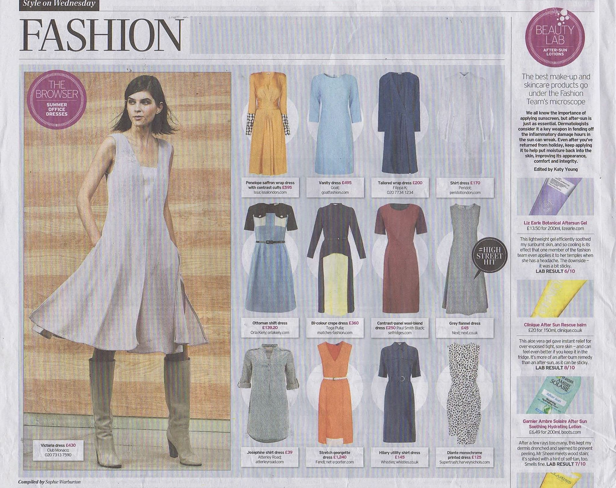So pleased to be featured in The Daily Telegraph's round up of summer office dresses with our ever versatile white cotton shirtdress - A Peridot wardrobe essential.