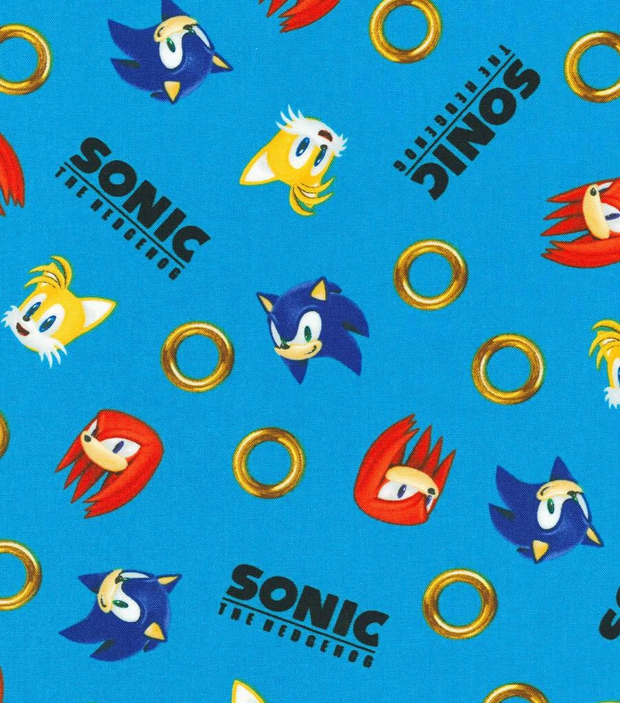 Sonic the Hedgehog Rings Tossed Cotton Fabric