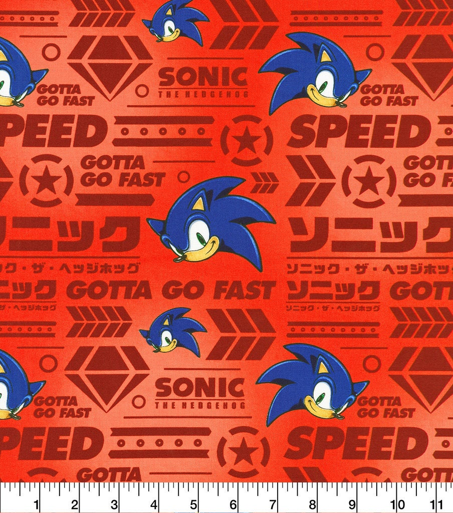 Sonic the Hedgehog Red Gotta Go Fast Cotton Fabric SEGA