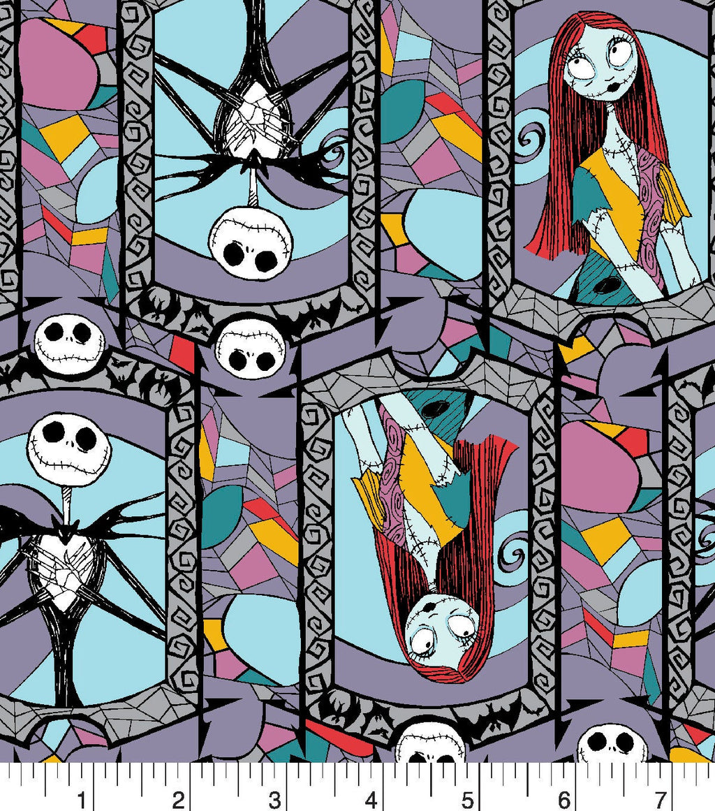 Cotton Disney The Nightmare Before Christmas Stained Glass Cotton Fabric Jack Skellington