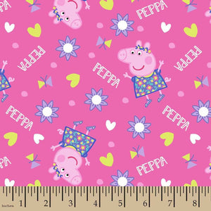 1 Yard Cotton Fabric Peppa Pig Pink Fabric Heart, flowers and butterflies PRECUT