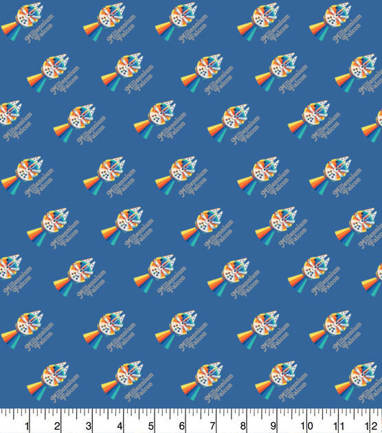1/2 Yard Star Wars Rainbow Millennium Falcon Metallic Classic Movie Cotton Fabric Droid Colorful Han Solo Chewbacca