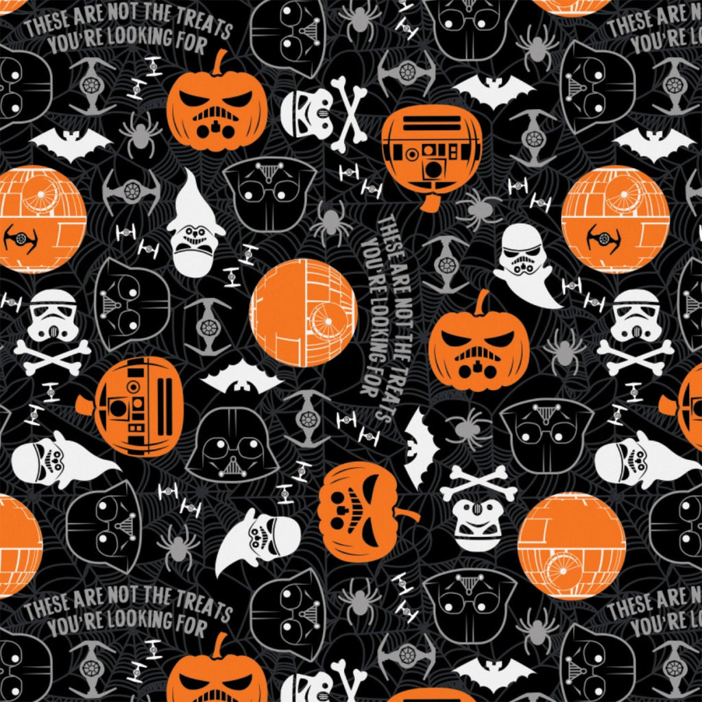 1/2 Yard Black Star Wars Halloween Toss Glows in the Dark Cotton Fabric GLOW
