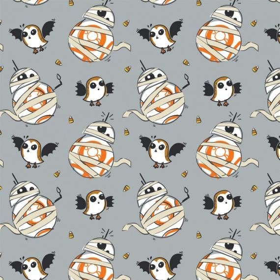 1/2 Yard Star Wars Halloween BB8 Mummy Grey Porg Porgs Cotton Fabric