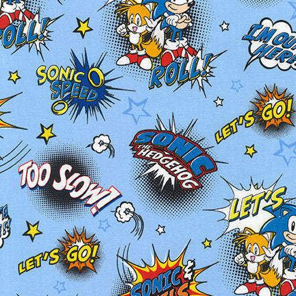 Sonic the Hedgehog Comic Style Print Cotton Fabric SEGA 100% Cotton